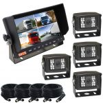 Rear View Security Kit With 7inch Quad Monitor And Four CCD Cameras