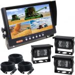 9inch Farming Rear View Kit Quad Reversing Monitor Three CCD Backup Cameras