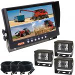 Farming Rear View Kit With 9inch Quad Reversing Monitor And Three CCD Backup Cameras