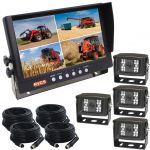 Farming Rear View System With 9inch Quad Monitor And Four Waterproof Backup Cameras