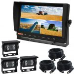 Farming Rear View System With 10.1inch Quad Monitor And Three CCD Cameras