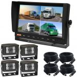 Vehicle Backup Camera System With 10.1inch Quad Monitor Four CCD  Cameras