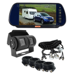 Rear Vision Mirror Monitor Clips On Existing Car Mirror, Twin Camera for the Back of the Caravan or Camper 60° & 120° & Suzi Cable(RV-MSDM872CBC12060)