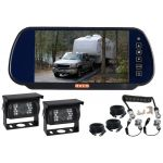 7inch Caravan Rear View Mirror Monitor With One Camera Suzie/Curly Cable And Two 90° Camares
