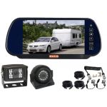 7inch Caravan Rear View Safety Kit With Mirror Monitor And Two CCD Reversing Camera And One Camera Suze/Curly Cable