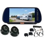 7inch Caravan Rear View Mirror Monitor With One Camera Suzie/Curly Cable And Two Dome 120° Cameras