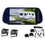 7inch Caravan Rear Vision Mirror Monitor Kit With One Camera Suzie/Curly Cable And Two MINI 120° Cameras