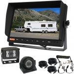 "10.1""LCD Monitor With Two CCD 600 TV Line Reversing Cameras 120° With A Trailer Curly Extension Cable Between The Towing Vehicle & Trailer"