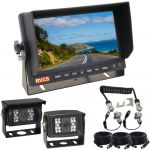 """Caravan Reversing Camera Kit For Driver Confidence & Peace of Mind-Kit Includes a 7"""" LCD Monitor, Two Cameras 90° & 120° &  Suzie/Curly Cable Connection"""