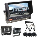 """Caravan Rear View Safety Camera System 7"""" Reversing Camera Monitor & Two Cameras with LED Lights for Night Vision"""