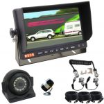 """Caravan Rear View Camera system with an LCD 7"""" Monitor Two Cameras and All Cables Including the Suzie/Curly Cable"""