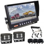 9inch Caravan Rear Vision Safety Kit With One Camera Suzie/Curly Cable And Two 120° Waterproof High Resolution Back Up Cameras