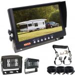 """9"""" LCD TFT Rear-View Monitor with Two Backing Up Cameras, One For The Car  & The Other For the Back Of The Caravan Making Reversing Easy Kit Includes All Cables"""