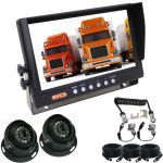 9inch Caravan Rear Vision Safety Kit With One Camera Suzie/Curly Cable And Two Dome High Resolution Cameras