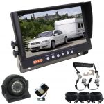 """9"""" Caravan Rear Vision Safety Kit With A Secure Waterproof Suzie/Curly Cable Connection & A Side Mounted 120° Camera  & A Wide View 150° Camera"""
