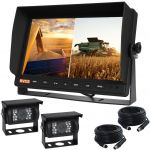 Farming Reversing Camera Kit View Both Cameras on the Screen of the 10.1inch Monitor And Two  90° Cameras