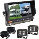 7inch Motor Home Reversing Camera Two Splits Monitor Kit With Two 120° Viewing Angle Cameras