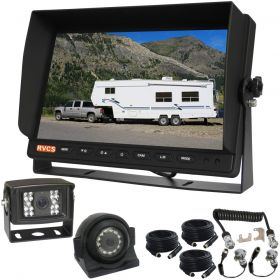 """10.1""""LCD Monitor With Two CCD 600 TV Line Reversing Cameras 120° With A Trailer Curly Extension Cable Between The Towing Vehicle & Trailer"""